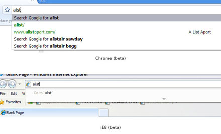 H πρόταση του Chrome για sites με τη διεύθυνση που μέχρι τώρα έχω γράψει