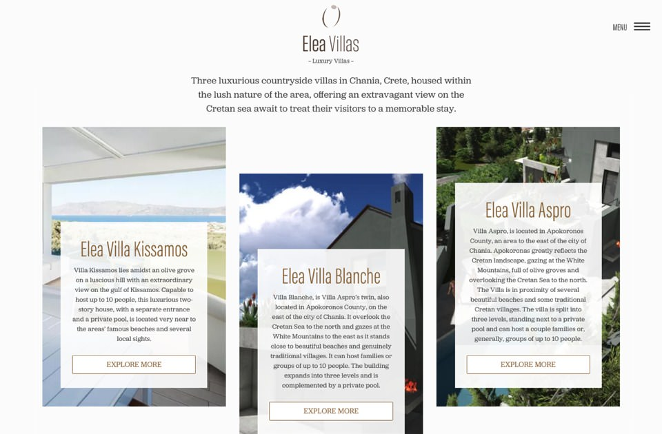 Web Design & Front-End Development για το Elea Villas